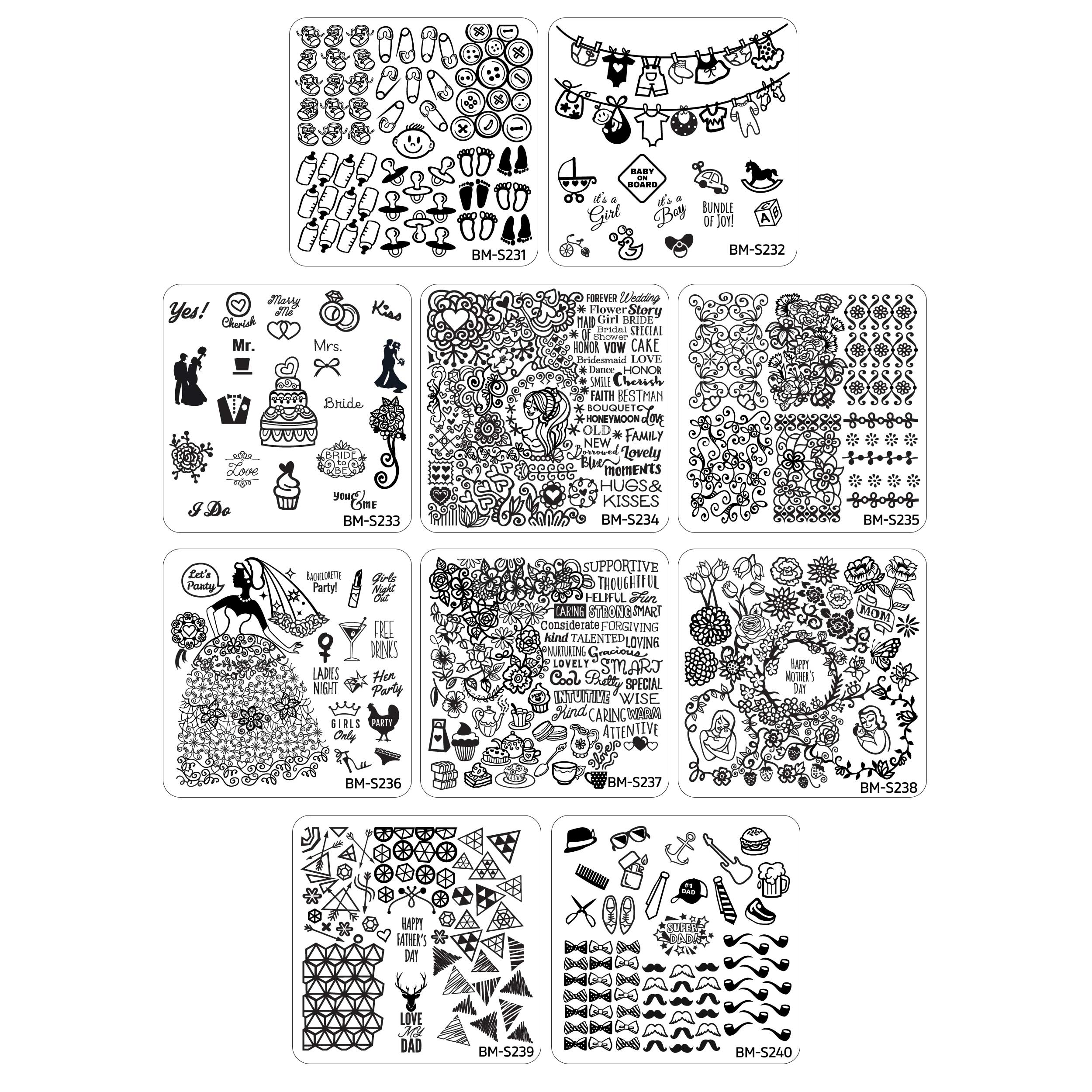 Maniology (formerly bundle monster) 10pc Occasions Nail Art Stamping Plates - Family Ties Collection