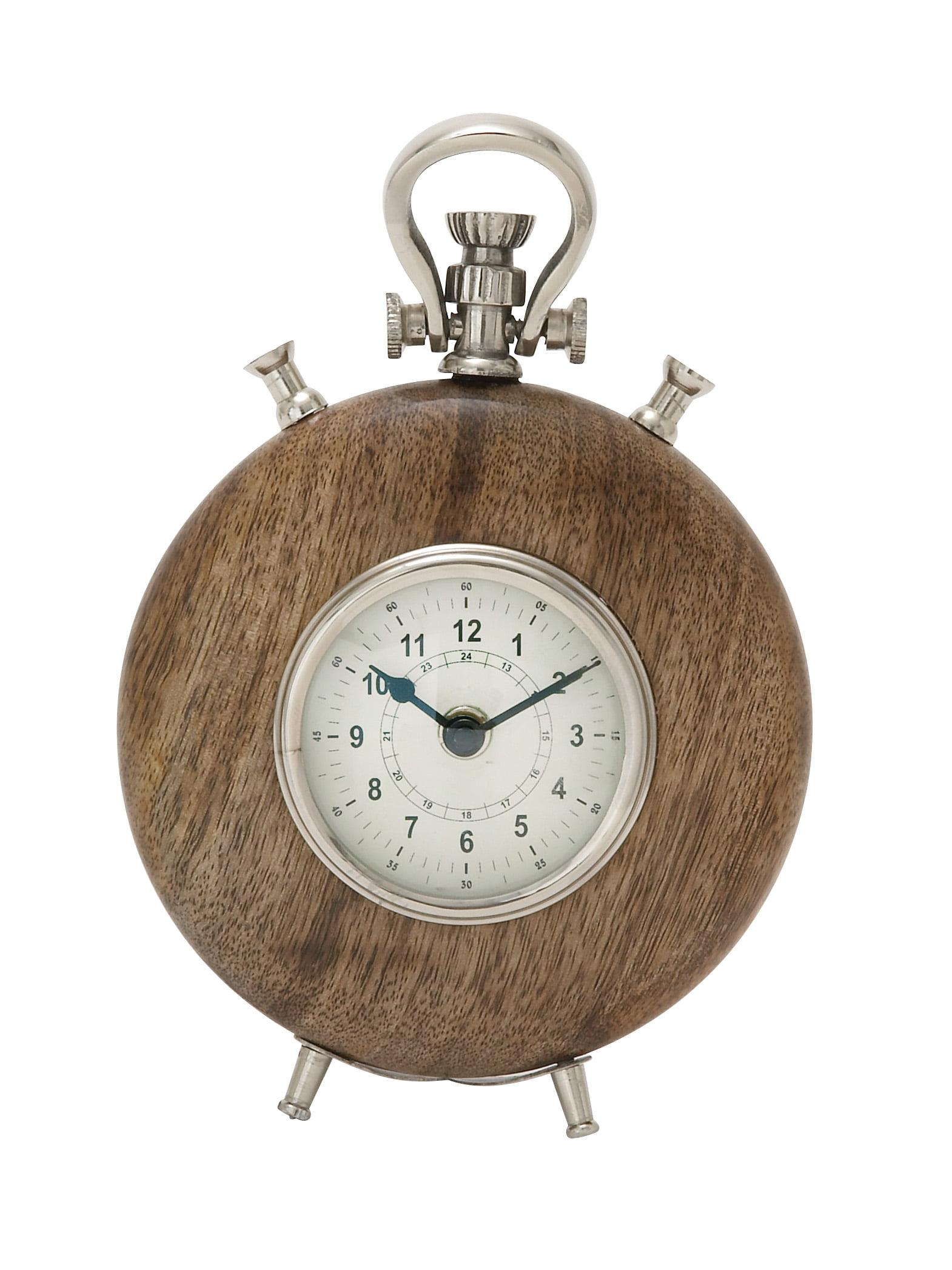 40699 Wood Metal Table Clock by Benzara