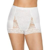 Rhonda Shear Womens Pin-Up Lace Tummy Control High-Waist Boyshort Style-3867B