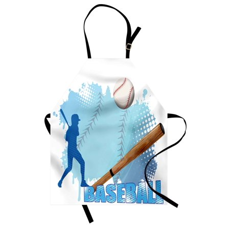 Baseball Apron Silhouette of A Baseball Player with Basic Game Icons Kicking with Bat Sports, Unisex Kitchen Bib Apron with Adjustable Neck for Cooking Baking Gardening, Blue and White, by Ambesonne (Baseball Silhouette)