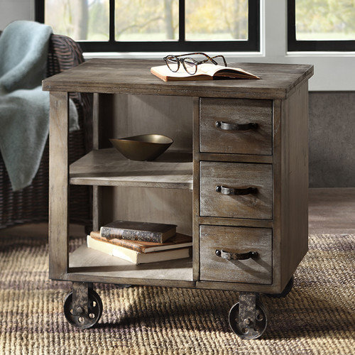 Madison Park Cirque Accent End Table on Non moveable Wheels
