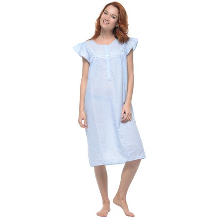 Cap Sleeve Matte - Casual Nights Women's Cap Sleeve Eyelet Embroidered Nightgown