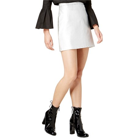 Glam Womens Faul Leather Mini Skirt silver S (Glam Rock Mini)