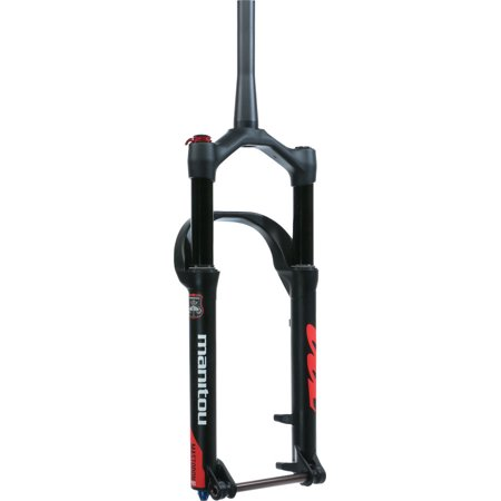 Manitou Mastodon Pro Fat Bike Fork, 100mm Travel, 15 x 150 mm Axle, Tapered, Matte Black, Extended version-fits up to a 5.15