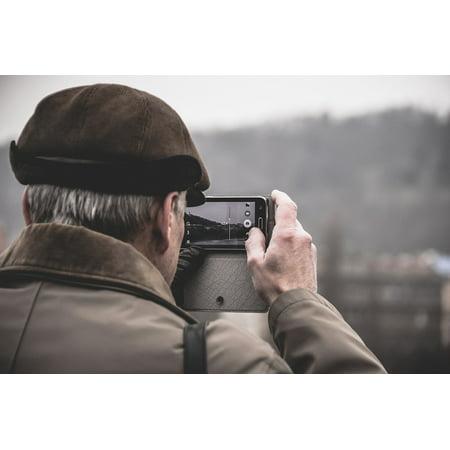 LAMINATED POSTER Man People Elderly Phone Selfie Old Mobile Poster Print 24 x