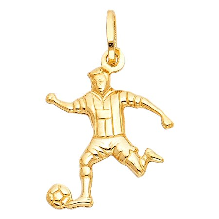 Polished 14K Solid Yellow Gold Soccer Player -