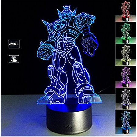 3d illusion transformers night light lamp, 7 colors gradual changing touch switch usb table desk autobots lamp best for gifts or home office