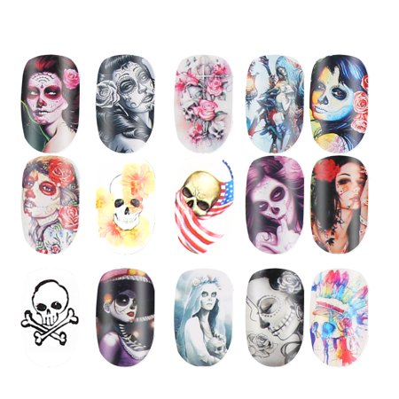 Halloween Bone Transfer Nail Art Sticker Polish Decal Manicure Decoration Accessory,Nail Transfer Foil Sticker, Halloween Transfer Sticker - Cute Halloween Manicure