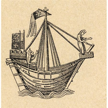 A 14th Century Sailing Ship of The Hanseatic League. After A 14th Century Woodcut From Sveriges Historia By Otto Sjogren Published Malmo 1938 Poster Print, 24 x 24 - Large - image 1 of 1