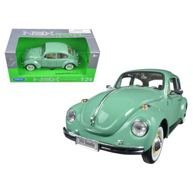 1 by 24 Scale Diecast Volkswagen Old Beetle Hard Top Light Green Model Car - image 1 de 1