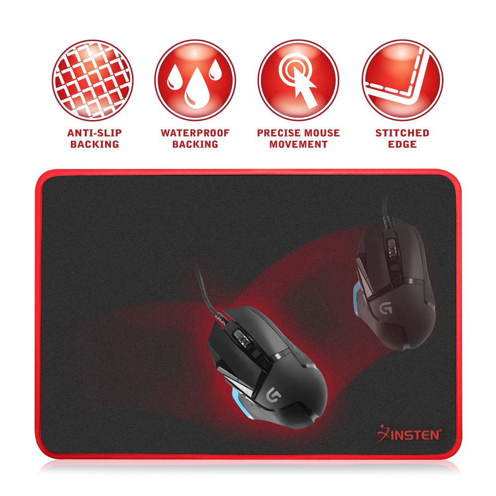 Insten Large Gaming Mousepad with Special-Textured Surface, Silky Smooth, Anti-Slip Rubber Base & Waterproof Coating (Size: 13.8 x 10.2 inches)