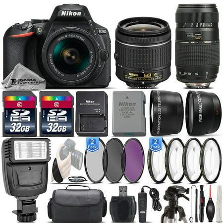 Nikon D5600 24.2MP DSLR Camera + 18-55mm VR Lens + 70-300mm Macro Lens -64GB Kit