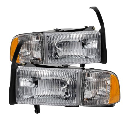 Oem Corner - Xtune Dodge Ram 1500 94-01 OEM Style Headlights w/ Corner Chrome HD-JH-DR94-OE-C
