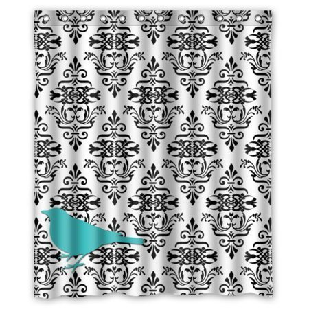 GreenDecor Black And White European Damask With Teal Blue Bird Waterproof Shower Curtain Set with Hooks Bathroom Accessories Size 60x72 inches](Black And White Damask)