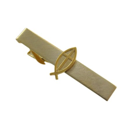 24k Gold Plated Cufflinks - Gold Plate Christian Cross And Ichthys Fish Tie Clip Bar