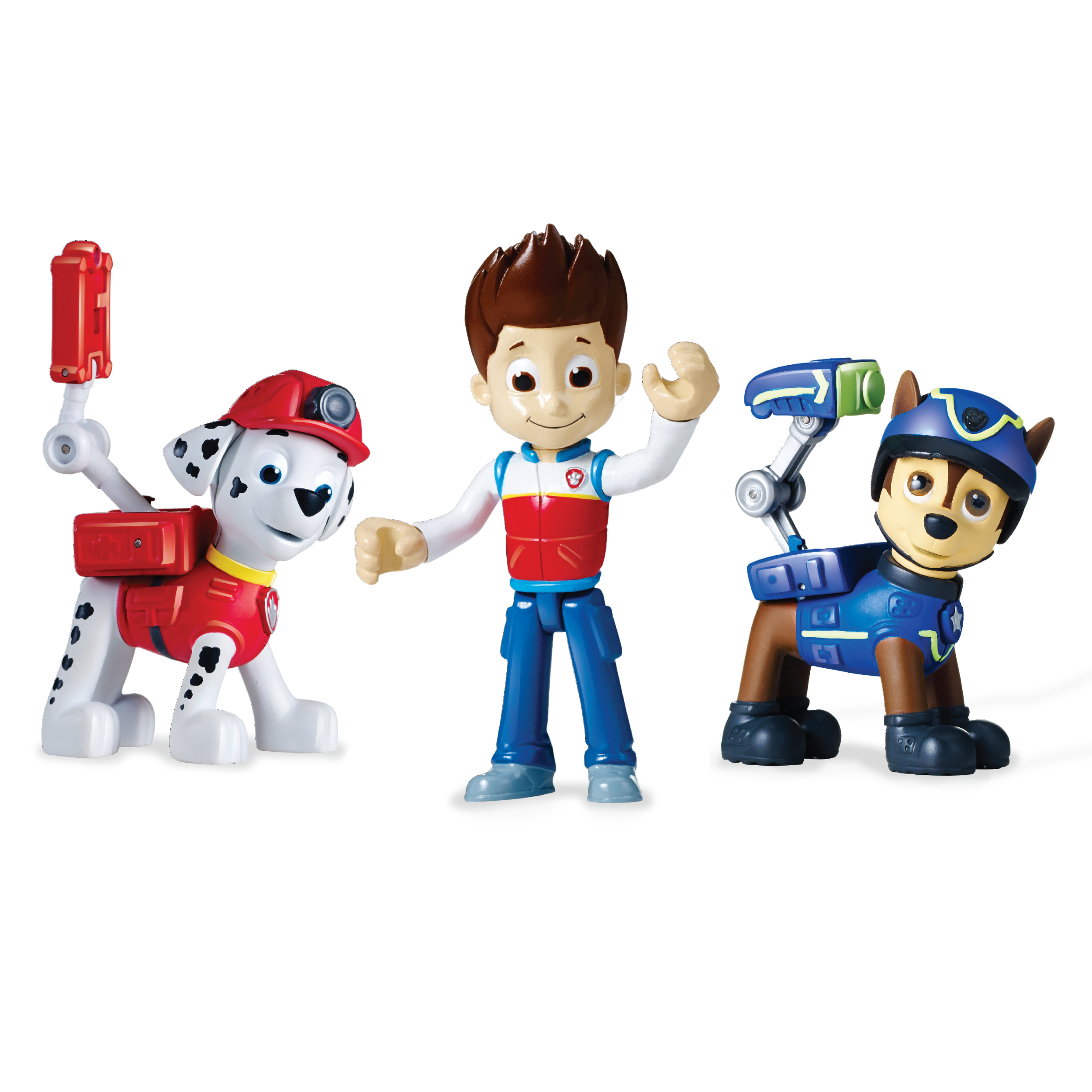 Paw Patrol Action Pack Pups Figure Set, 3‐Pack, Ryder, Chase and Marshall