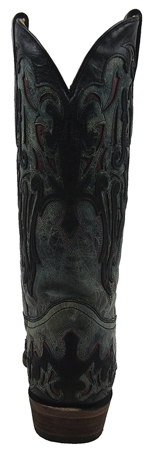 CORRAL Men's Grey/Black with Red Inlay Snip Toe Cowboy Boots A2831 (11 D(M) US)