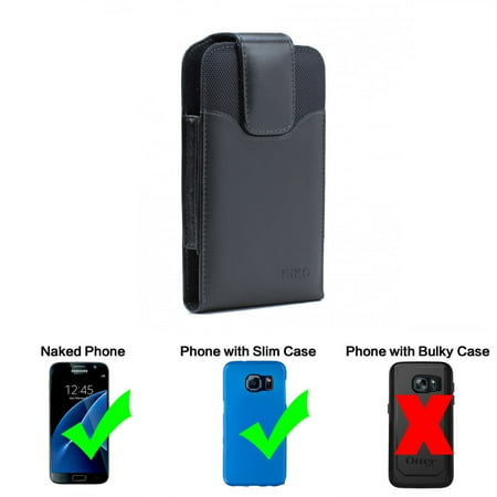Iphone 7 Plus 5.5' / 6S / 6 5.5 INCH Premium Vertical Leather Belt Clip Holster Pouch Case Cover ( Only Fit with Naked phone, thin or Slim Case On)
