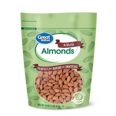 Great Value Whole Almonds, 16 oz Almonds 16 Oz Jar