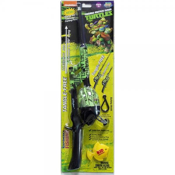 Kid Casters Telescopic Teenage Mutant Ninja Turtle No Tangle Fishing Rod/Reel Combo , Green