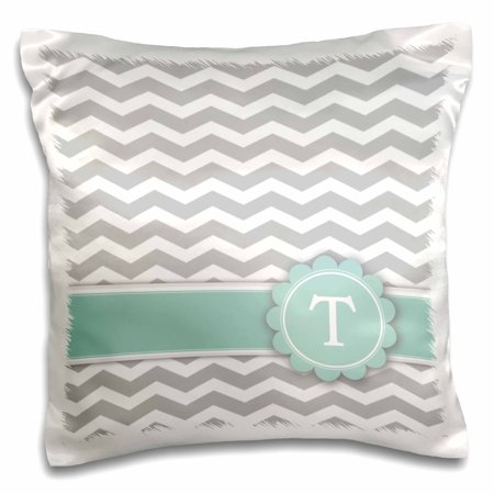 3dRose Letter T monogrammed on grey and white chevron with mint - gray zigzags - personal initial zig zags - Pillow Case, 16 by 16-inch (Mint Chevron)