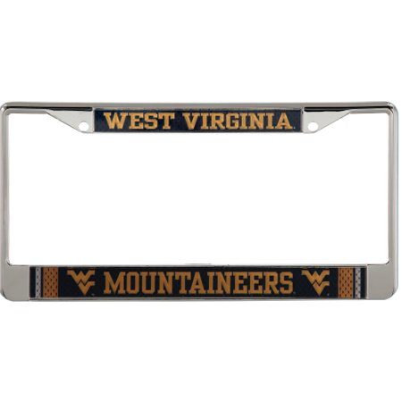 West Virginia Mountaineers Jersey Small Over Large Metal Acrylic Cut License Plate Frame - No (West Virginia Metal)