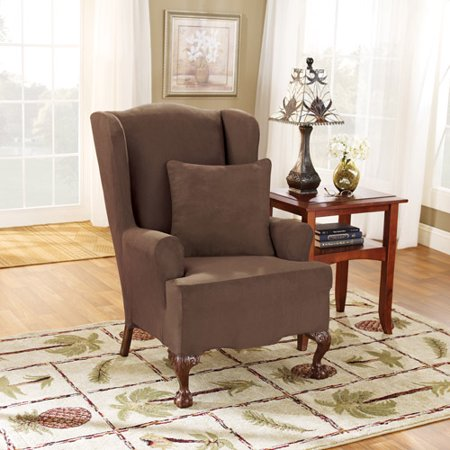 Sure Fit Stretch Suede T-Cushion Wing Chair Slipcover