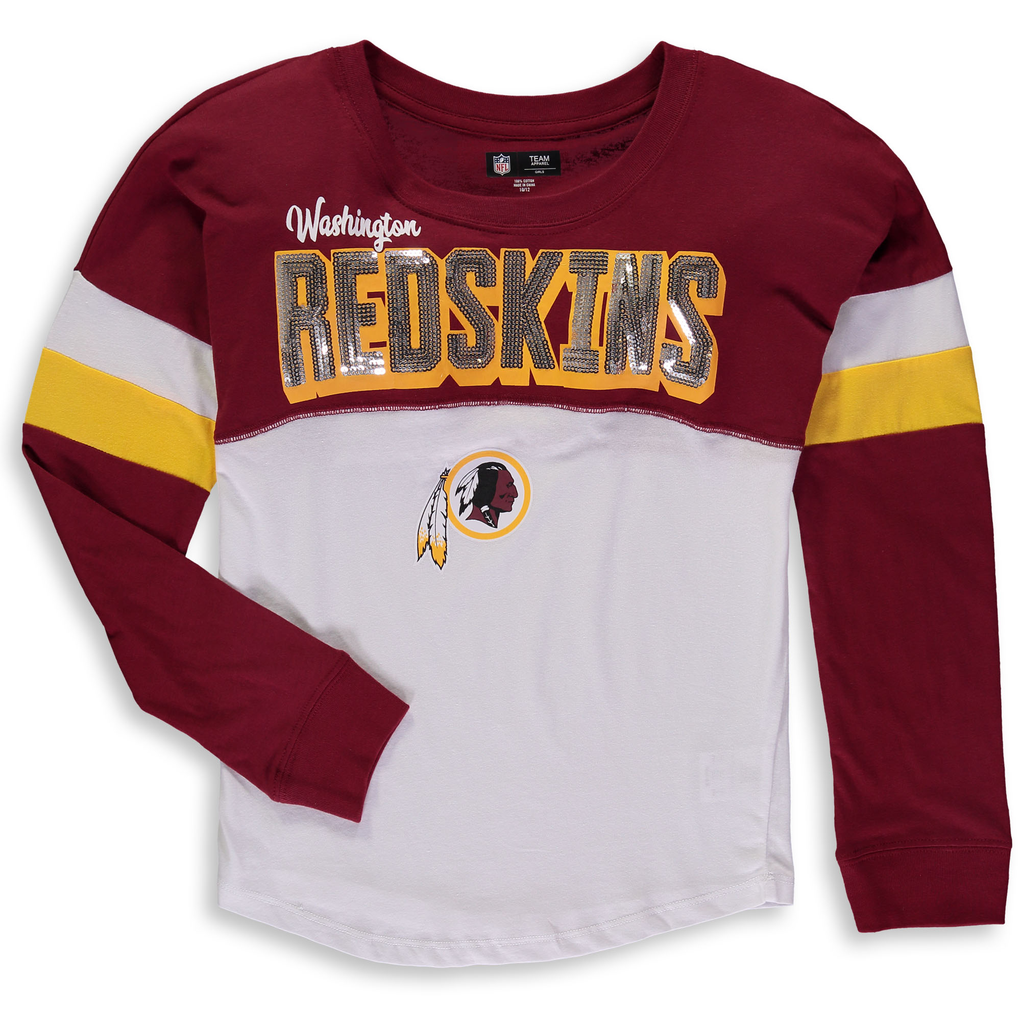 Washington Redskins New Era Girls Youth Baby Jersey Long Sleeve T-Shirt - White/Burgundy