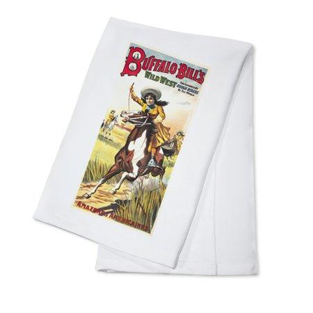 Buffalo Bill's Wild West - Amazones Americaines Vintage Poster France c. 1905 (100% Cotton Kitchen