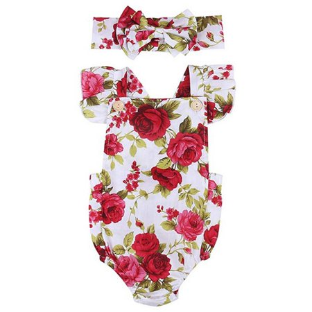 Newborn Baby Girls Clothes Floral Jumpsuit Romper Playsuit With Headband Infant Outfits](Infant Tuxedo Romper)