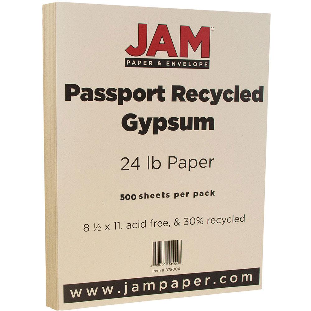 "JAM Paper Recycled Paper, 8.5"" x 11"", 24 lb Gypsum Passport, 500 Sheets/Ream"
