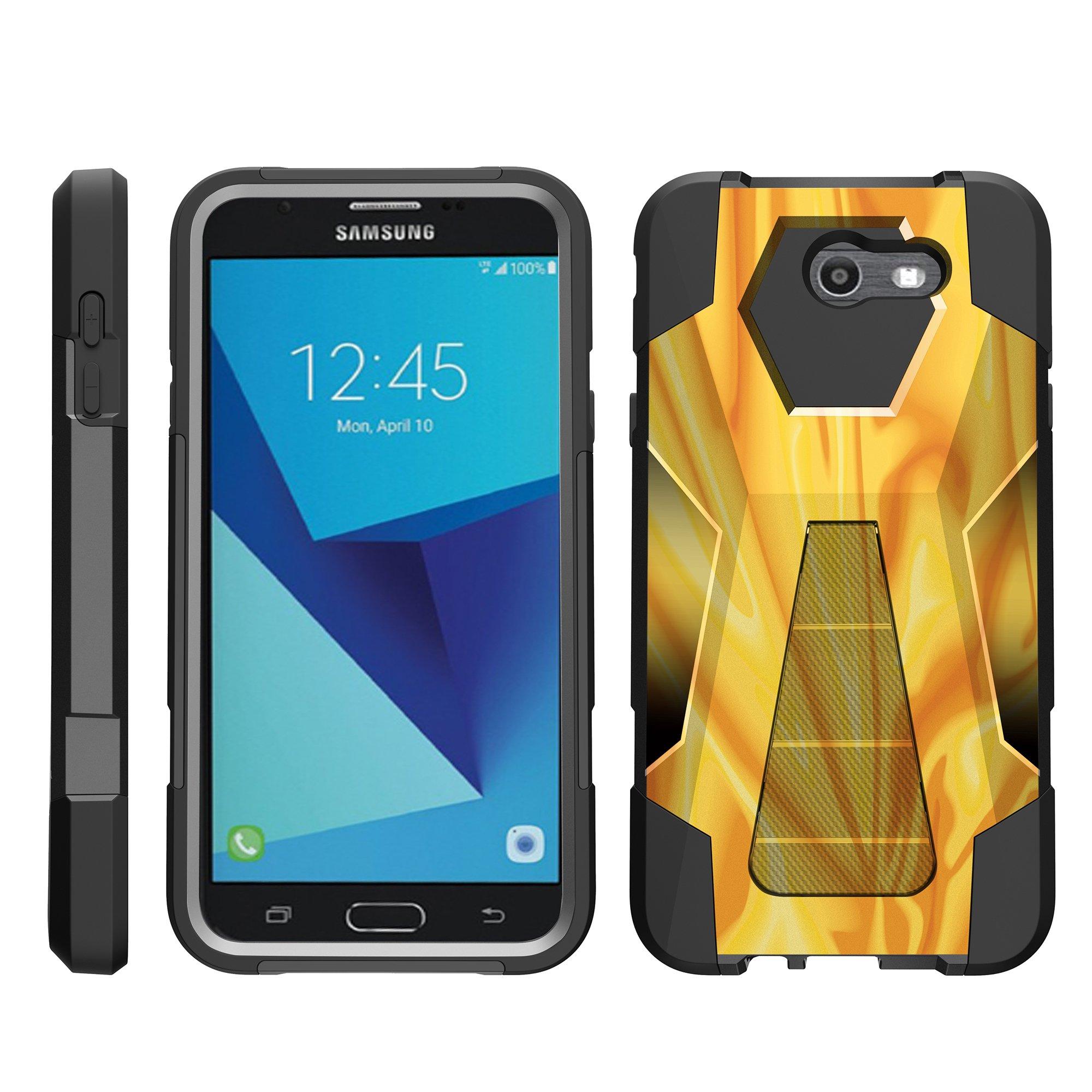 TurtleArmor ® | For Samsung Galaxy J7 | J7 V | J7 Perx | J7 Sky Pro | J7 Prime | Halo [Dynamic Shell] Dual Layer Hybrid Silicone Hard Shell Kickstand Case - Starry Swirl