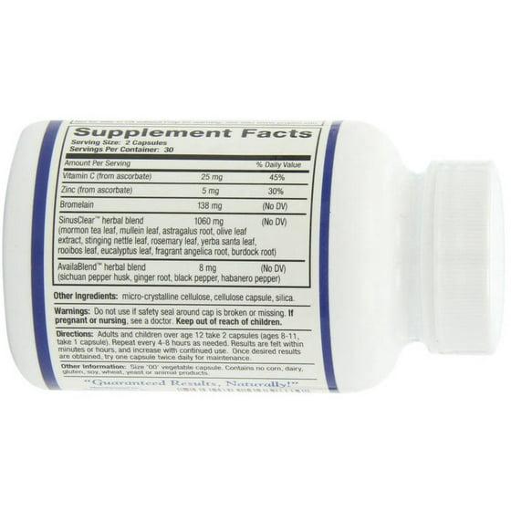 Ridgecrest Herbals Sinusclear, Herbal Nasal Decongestant Capsules, 60 CT
