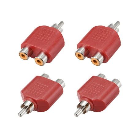 RCA Male à 2 RCA Femelle Séparateur Rouge 4Pcs Stéréo Audio Video Cable Convert - image 3 de 3