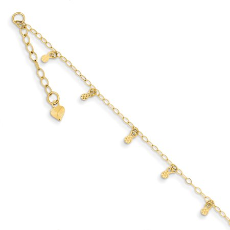 - 14k Yellow Gold Oval Chain Dots 1 Inch Adjustable Plus Size Extender Anklet Ankle Beach Bracelet Gifts For Women For Her