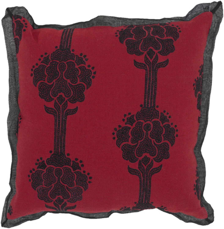 "18"" Japanese Garden Brick and Ebony Decorative Throw Pillow"