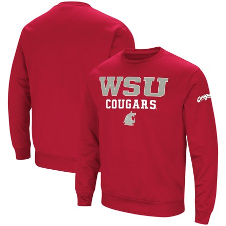 Washington State Cougars Crimson Pullover (Washington State Cougars Colosseum Stacked Performance Pullover Sweatshirt - Crimson )