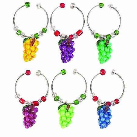 Napa Grapes Cluster Wine Glass Tag Charms Set