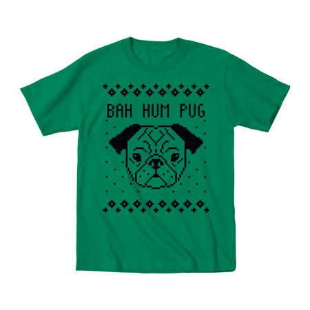 Bah Hum Pug Ugly Sweater Party Christmas Funny Dog Holiday Humor   Mens T Shirt
