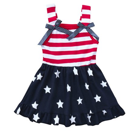 Baby Girls 4th Of July Dress Sleeveless USA Flag Stars Stripes Swing Dress Outfits Catch Of The Day Dress
