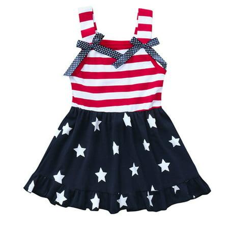 Baby Girls 4th Of July Dress Sleeveless USA Flag Stars Stripes Swing Dress Outfits