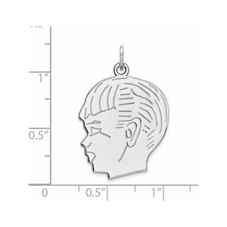 925 Sterling Silver Engraveable Boy Polished Front/Satin Back Disc (20x26mm) Pendant / Charm - image 1 de 2