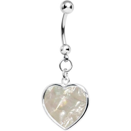 Mother of Pearl Inlay Dangling Heart Belly Ring