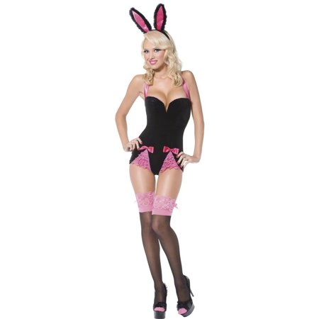 Pin The Tail On The Bunny - Adult Pin Up Black Bunny Costume Smiffys 34054