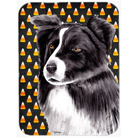 Caroline's Treasures Halloween Candy Corn Border Collie Portrait Glass Cutting Board (Broken Glass Candy Halloween)