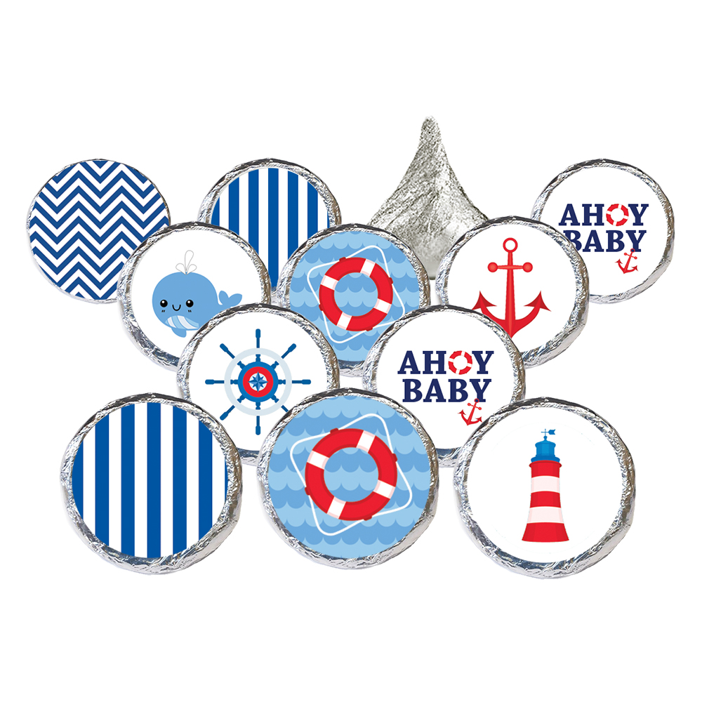 Nautical Baby Shower Stickers, 324 count - Ahoy Baby Shower Decorations Nautical Baby Shower Favors Supplies - 324 Count Stickers