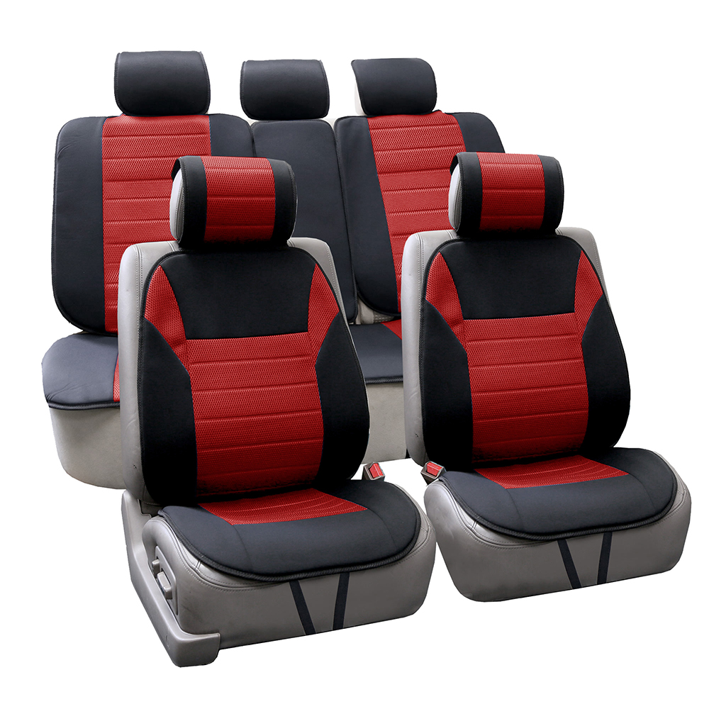 FH Group Ultra Fine Polyester Universal Seat Cushions / Seat Covers, Full Set, Red