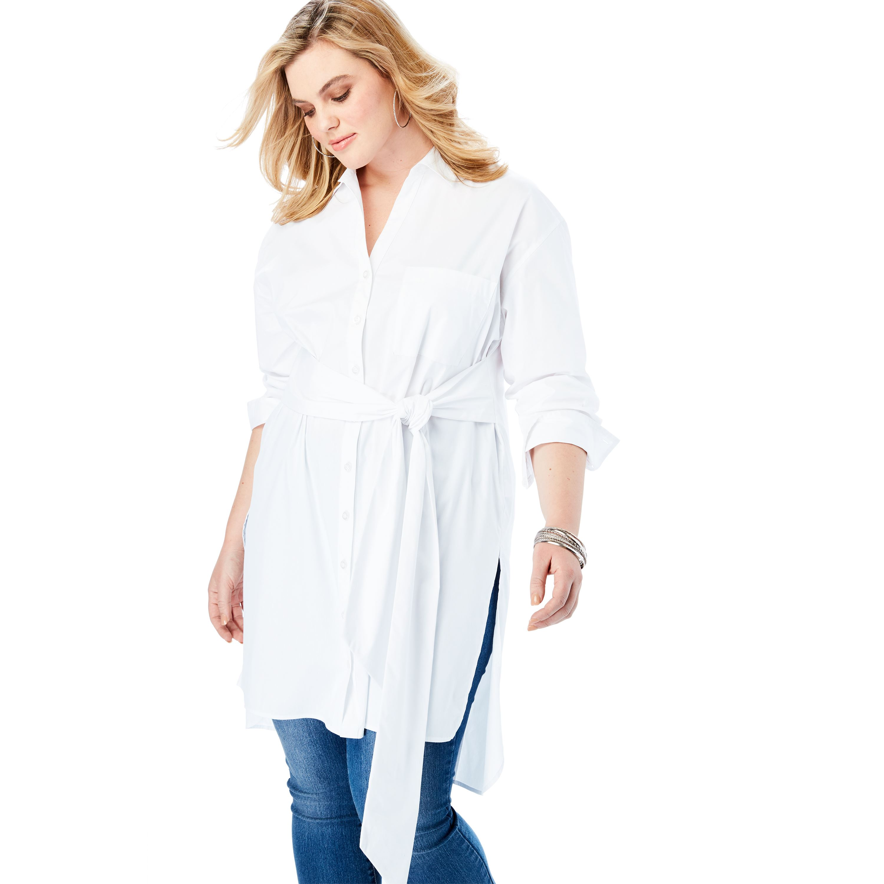 f15bfc7ca72 Plus Size Tie-front Ultra Tunic With High-low Hem