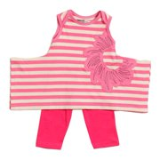 KidCuteTure Little Girls Raspberry Stripe Karrie Tunic Leggings Outfit Set 2-4T