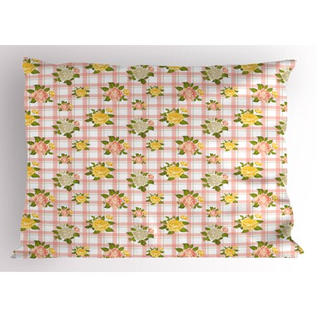 Shabby Chic Pillow Sham Flower Inspired Vector Illustration of Roses with Leaves Art Print, Decorative Standard Size Printed Pillowcase, 26 X 20 Inches, Coral and Olive Green, by Ambesonne ()